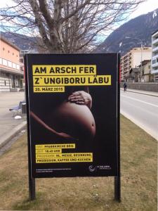 Satirische Variante des Werbeplakats
